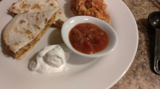 Chicken and Bacon Quesadilla and Spanish Rice