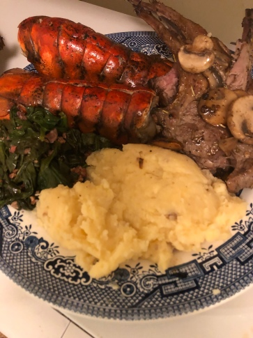 Lobsters, Lamb Chops with Mushrooms, Spinach and Mashed Potatoes